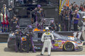 Nascar sprint cup series aarons may lincoln al denny hamlin brings in his fedex express chevrolet for a driver change with brian Royalty Free Stock Photo
