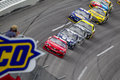 Nascar sprint cup series aarons may lincoln al matt kenseth brings a pack of cars through turn during the aaron s nacar race at Royalty Free Stock Photos