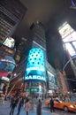 NASDAQ billboard at night in Times Square, NYC Royalty Free Stock Photo