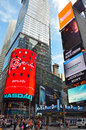 Nasdaq and nypd at times square stock market billboard in new york city Royalty Free Stock Photos