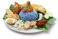 Nasi kerabu blue color rice salad malaysian cuisine traditional isolated on white background Royalty Free Stock Photography