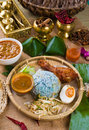 Nasi kerabu a traditional east coast blue rice famous in stat states such as terengganu or kelantan photo Stock Images