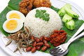 Nasi lemak coconut milk rice malaysian cuisine isolated on white background Stock Photography