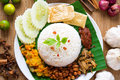 Nasi lemak traditional malaysian spicy rice dish Royalty Free Stock Images