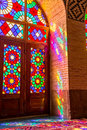 Nasir Al-Mulk Mosque colorful reflections Royalty Free Stock Photo