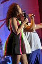 Nastia in dress potap and nastya kamensky perform at a concert on june at the freedom square kharkov on the occasion of winning Royalty Free Stock Photos