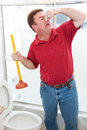 Nasty bathroom job plumber or homeowner disgusted by having to plunge toilet and holding his nose Stock Photography