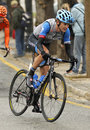 Nate brown of garmin sharp team rides during the tour catalonia cycling race through the streets monjuich mountain in Stock Images