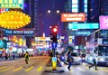 Nathan road hong kong traffic and pedestrians on rd october in china the street is a main thoroughfare through kowloon and is line Royalty Free Stock Photos