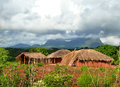 National african village the mountains in the background africa mozambique naiopue Stock Photo