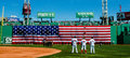 The national anthem at fenway park red sox david ortiz kevin millar and trot nixon observe boston ma Royalty Free Stock Photography