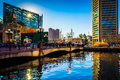 The national aquarium and world trade center at the inner harbor in baltimore maryland Stock Images