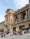 National art museum of catalonia barcelona october on montjuïc hill and a lot people and tourists sit on the steps october Stock Photography
