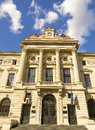 The national bank of romania bucharest august facade on august Royalty Free Stock Photo