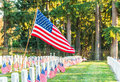 National Cemetery with a flag on Memorial day in Washington,Usa. Royalty Free Stock Photo