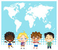 National child map of the world and children Stock Images