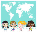 National child map of the world and children Royalty Free Stock Images