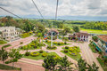 National coffee park colombia downward view of quindio february cable car path inside coffe showing plaza Royalty Free Stock Photo
