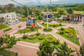 National coffee park colombia downward view of quindio february cable car path inside coffe showing plaza Royalty Free Stock Photography