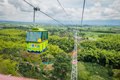 National coffee park colombia downward view of quindio february green cable car descending by inside coffe Royalty Free Stock Photo