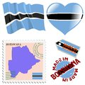 National colours of botswana set different symbols in Royalty Free Stock Photos