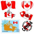 National colours of canada set different symbols in Stock Image