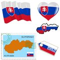 National colours of slovakia set different symbols in Stock Images