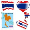 National colours of thailand set different symbols in Stock Photos