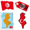 National colours of tunisia set different symbols in Stock Photo