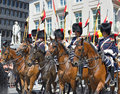 National day of belgium belgian cavalry starts defile to royal palace during ceremony in on july in brussels Stock Photo