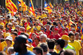 National day of catalonia barcelona spain september people at rally demanding independence for Stock Images