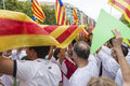 National day of catalonia barcelona spain september people at rally demanding independence for in barcelona spain on Royalty Free Stock Photography