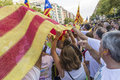 National day of catalonia barcelona spain september people at rally demanding independence for in barcelona spain on Royalty Free Stock Photo
