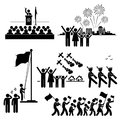 National day independence patriotic holiday a set of pictograms representing people celebration Royalty Free Stock Photos