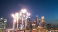 National day parade fireworks at singapore skyline Royalty Free Stock Images