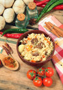 National dish uzbek pilaf on wooden table Royalty Free Stock Photos