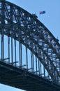 The National flag of Australia on Sydney Harbour Bridge Royalty Free Stock Photo