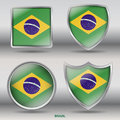 National Flag of Brazil in 4 Shape Collection