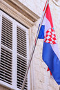 National flag of Croatia on the wall in Dubrovnik Royalty Free Stock Photos