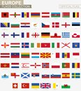National flag of European countries, official vector flags collection