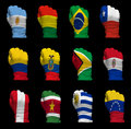 National flag fists of South America Stock Photography