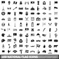 100 national flag icons set, simple style