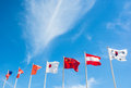 National of flag pole on blue sky seven backgrounds Stock Image