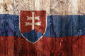 National flag of Slovakia, wooden background