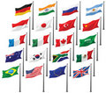 National Flags of G20 Royalty Free Stock Photography