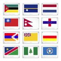 National flags on metal texture plates of mozambique nauru netherlands myanmar nepal netherlands antilles nagorno karabakh niue Stock Photo