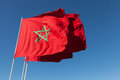National flags of morocco above blue sky clear Stock Photography