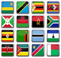 National flags set of in rectangle frame with reflection Royalty Free Stock Image