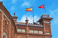 National flags of Spain in Madrid on Pras bullring bulls. Royalty Free Stock Photography
