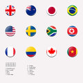 National flags for women football game in London Royalty Free Stock Images
